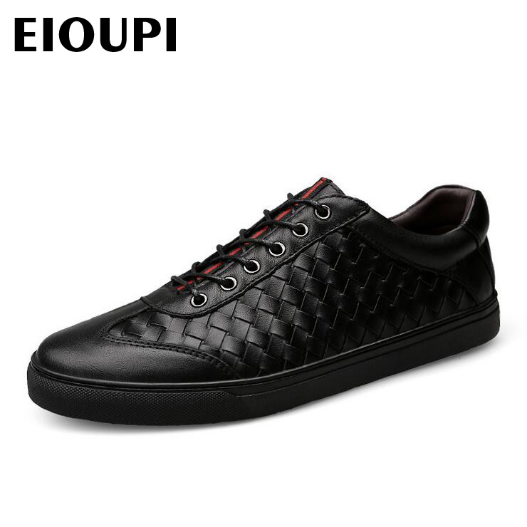 EIOUPI top quality new design genuine real leather mens fashion business casual shoe breathable men woven shoes lh503 top quality genuine real grain leather boots qshoes mens brand design business dress casual men personalized boot ym08 01