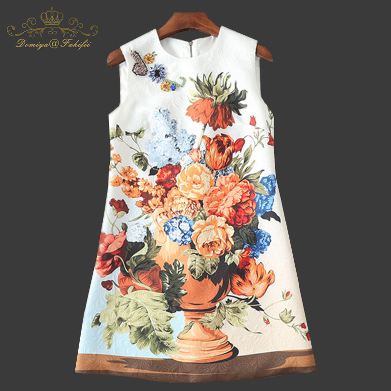 2018 Brand Designer Tank Dress Women's Vintage Print Sequined Diamonds Elegant Party Mini Straight Dress Vestidos Family Clothes paisley ethnic print mini dress