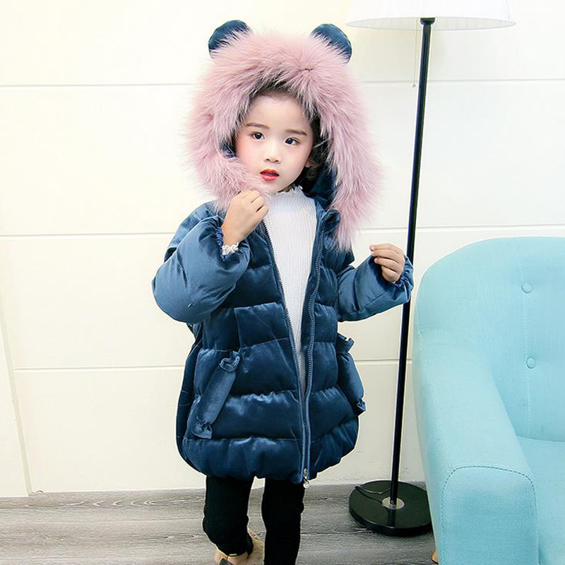 New Baby Girls Cotton Coat Winter Fashion Fur Collar Hooded Jacket Thick Warm Velour Outerwear Candy Children Kids Clothes XL254 фен luazon lf 21 black red 1134640