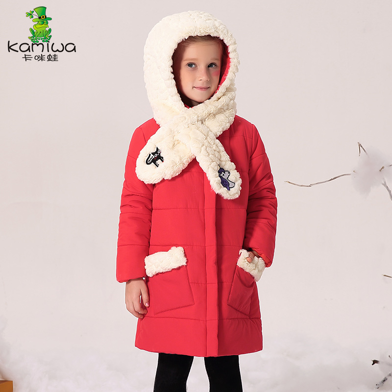 kids jacket outerwear medium-long children's clothing with cap  2017 child thick cotton-padded jacket girl winter coats