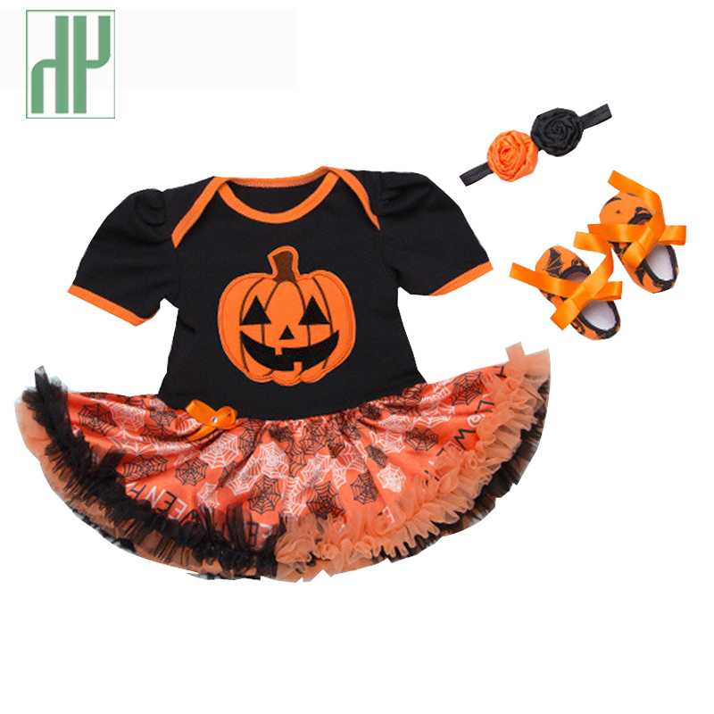 3pcs Baby halloween costume outfit pumpkin Infant Ruffle Outfits Party Dress Tutus Headband newborn baby girl romper jumpsuit ...