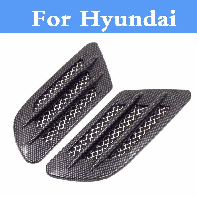 Carbon fiber Car Air Simulation Shark Vent Decorative Sticker For Hyundai Coupe Dynasty Elantra Equus Genesis Coupe Veloster 4pcs set smoke sun rain visor vent window deflector shield guard shade for hyundai tucson 2016