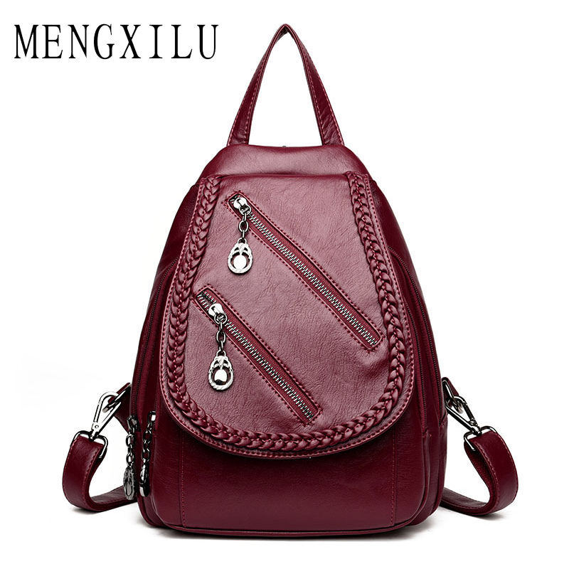 MENGXILU Brand Women Backpack High Quality Weave Leather Backpack Large Capacity Shoulder Bags Female Backpack Casual Daily Bag tiger ran hot and cold basin mixer basin faucet white heightening basin faucet hole on stage