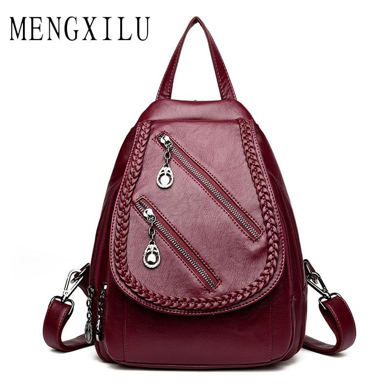 MENGXILU Brand Women Backpack High Quality Weave Leather Backpack Large Capacity Shoulder Bags Female Backpack Casual Daily Bag удочка зимняя akara 1808504 пробковая ручка с хлыстом ql d25 без тюльпана