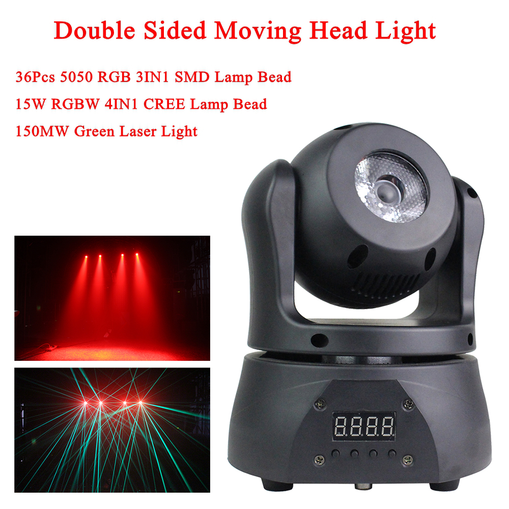 15W LED Beam+ 150MW Green Laser Light + 36Pcs RGB 3IN1 Bead Moving Head Light DMX512 Stage Effect For Party Dj Disco