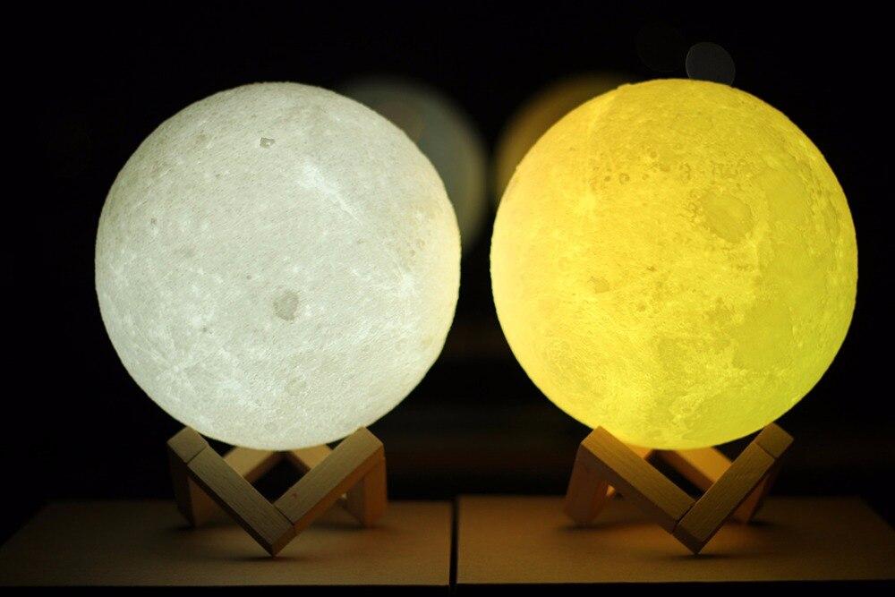 15 CM impression 3D LED lune lumière tactile interrupteur LED chambre nuit lampe nouveauté lumière pour bébé enfants noël décoration de la maison