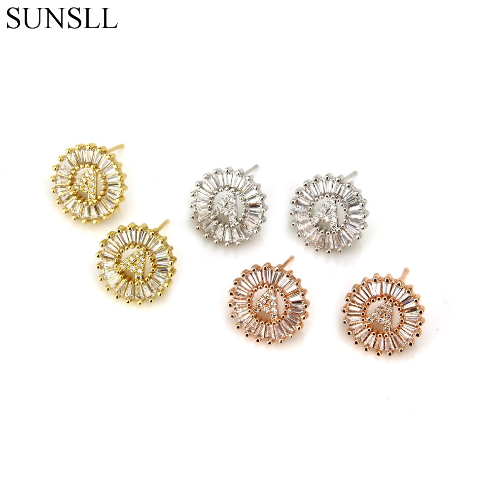 SUNSLL Stud-Earrings Fashion Jewelry Clear 26-Letter Cubic-Zirconia Women's CZ Copper