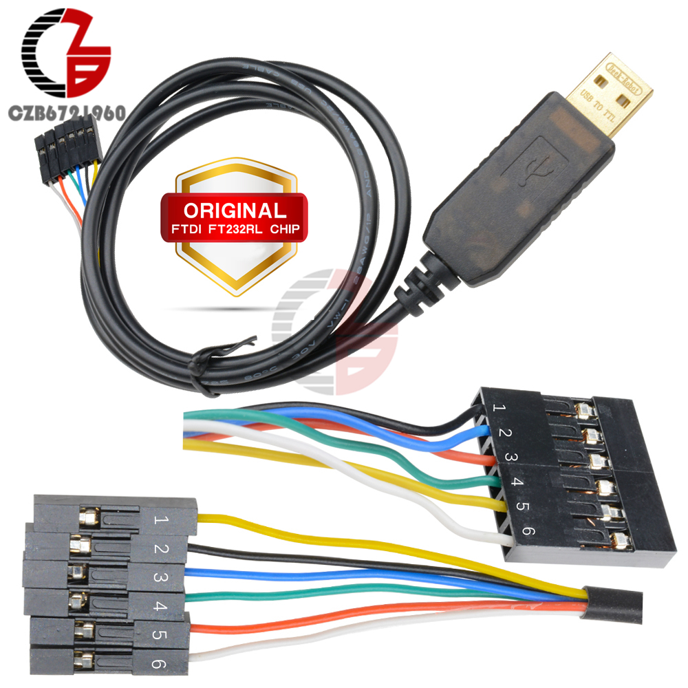 Original 1M 6PIN 5V FTDI FT232RL FT232 USB to TTL RS232 Serial Download Adapter Connector Cable for Arduino Raspberry Pi AVR ARM 2pcs ft232bl ft245b lqfp32 ft245 qfp ftdi usb uart usb serial i c new and original free shipping