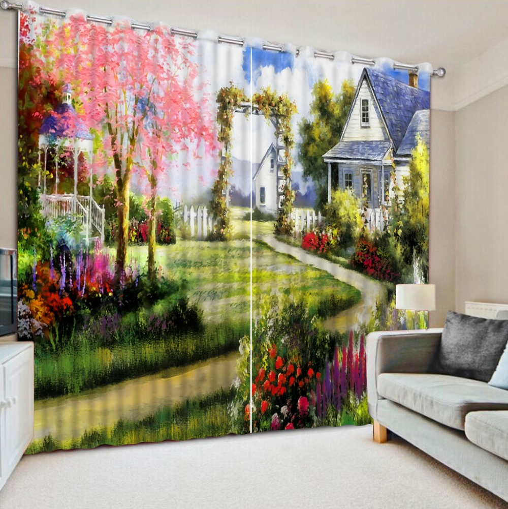 Natural Art cartoon scenery fashion Living Room or Hotel Cortians Sunshade Window Curtains 3D Tridimensional Scenery Printing in Curtains from Home Garden