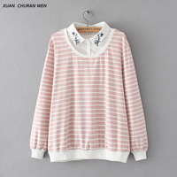 XUANCHURANWEN Autumn Faux Two Piece Embroidery Striped Shirt Long Sleeve Plus Size Loose Women Cotton Patchwork