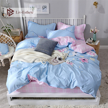 Liv-Esthete Cute Flower Series Blue Bedding Set Pink Stripe Soft Duvet Cover Pillowcase Fitted Sheet Decor Bed Linen Bedspread
