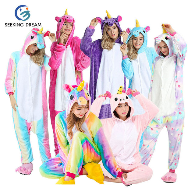 Unicorn Christmas Family Matching Pajamas For Adults Flannel Cartoon Animal  Winter Onesie Women Pyjamas Couple Pajama Sets 1872b2398