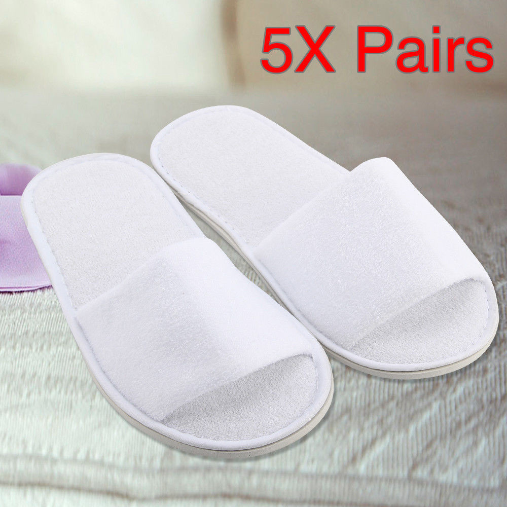 5 Pairs Spa Hotel Guest Slippers Open Toe Towelling Disposable Sandals Indoor Women Men Shoes Female Casual*0.95 Pairs Spa Hotel Guest Slippers Open Toe Towelling Disposable Sandals Indoor Women Men Shoes Female Casual*0.9