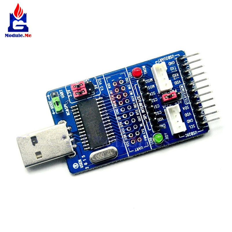 Todo en 1 CH341A USB a SPI I2C IIC UART TTL ISP Serial Módulo adaptador EPP/MEM Convertidor para cepillo de serie depuración RS232 RS485