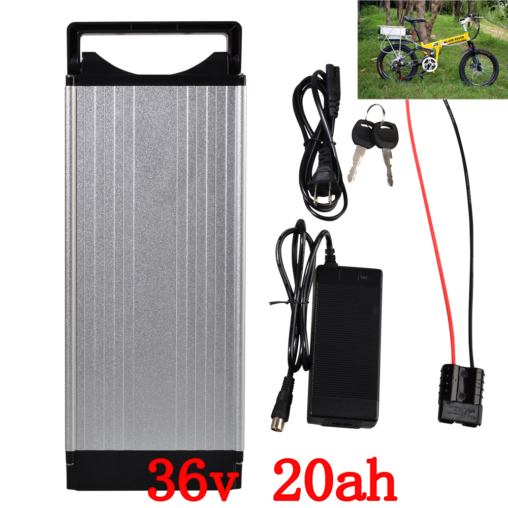 36V Rear Rack Battery 36V 20AH Lithium Battery 36 V Electric Bike Battery with Aluminum Case BMS 42V 2A Charger Free Shipping
