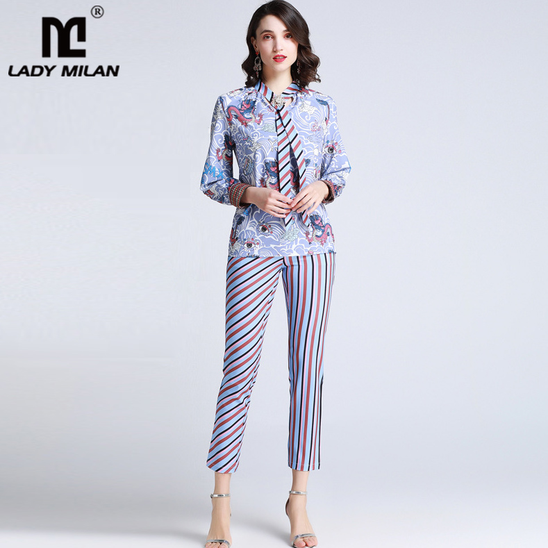 2019 Women s Runway Twinsets Beaded Bow Collar Long Sleeves Shirts with Striped Embroidery Pants Two