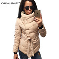 2017  Down jacket women duck down coat irrgeular high collar with belt parkas for women winter 3 colors warm outerwear coats