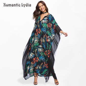 Floral Print Chiffon Summer Long Maxi Dress Women Plus Size V-Neck Loose Bohemian Dresses Chic Boho Female Vestidos Robe 2018  Платье