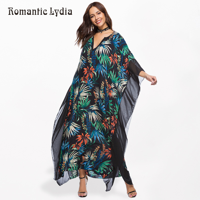 Women Kaftan Long Boho Dress Plus Size Summer Chiffon Loose Robe Femme  Bohemian Maxi Dresses Large Sizes New Arrival 2018