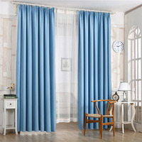 High Shading Modern Style Solid Color Pink Curtains for Living Room Custom Made Blue Window Curtains Drapes for Bedroom WP349&3