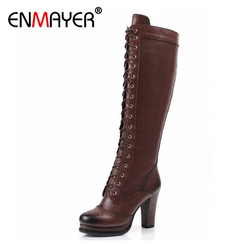 ENMAYER High Quality Sexy Winter Boots Designer Women Thigh High Boots New Lace Up Knee Corium Boot High Heel Retro Knight Boots jialuowei women sexy fashion shoes lace up knee high thin high heel platform thigh high boots pointed stiletto zip leather boots