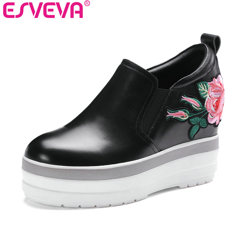 цены ESVEVA 2017 Elegant Real Leather Women Pumps Spring Autumn Round Toe Platform Women Shoes Wedges High Heel Pumps Size 34-39