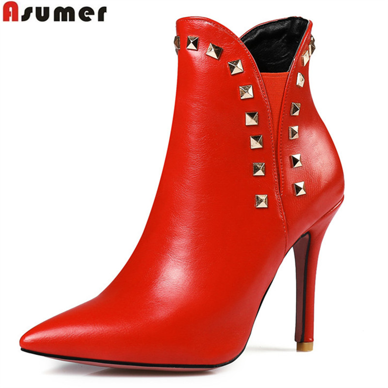 ASUMER new arrive women boots fashion red black pointed toe high heels ankle boots rivet autumn ladies boots big size 34-47