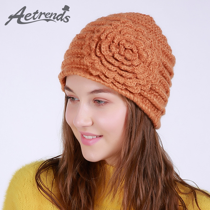 [AETRENDS] 2017 New Winter Beanie Hats for Women Warm Knitted Caps Beanies Z-6012 2016 new beautiful colorful ball warm winter beanies women caps casual sweet knitted hats for women outdoor travel free shipping