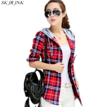 Women Red Flannel Plaid Shirt 2017 New Autumn Female Fashion Casual Hoodie Shirts Long Sleeve Blouses Blusas Outerwear LYL213