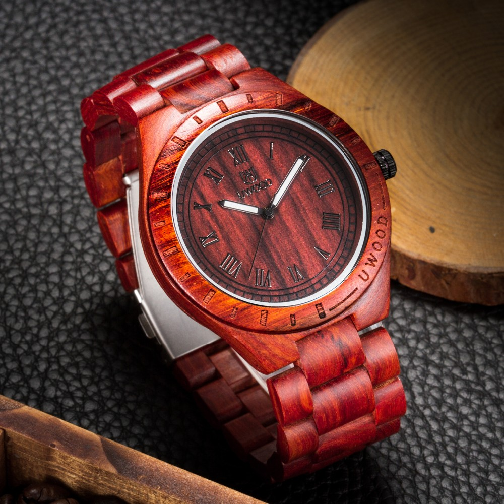 18 Hot Sell Men Dress Watch QUartz UWOOD Mens Wooden Watch Wood Wrist Watches men Natural Calendar Display Bangle Gift Relogio 26