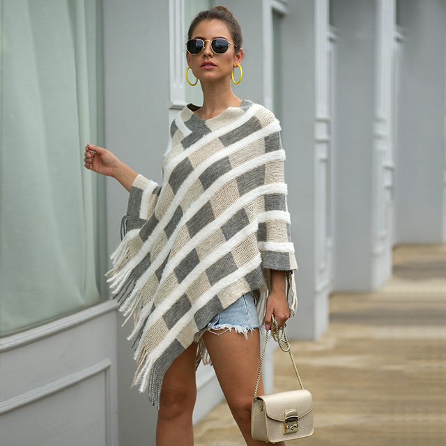 HEE GRAND Women Plaid Sweaters Autumn 2019 New Tassels Cloaks Sexy V-neck Pullovers High Street Capes Drop Shipping WZL1505 8