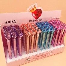 48 قطعة/الوحدة الماس كريستال قلم حبر جاف الإبداعية القرطاسية الطلاب مكتب مدرسة القلم تعزيز هدية حفلة عالية الجودة