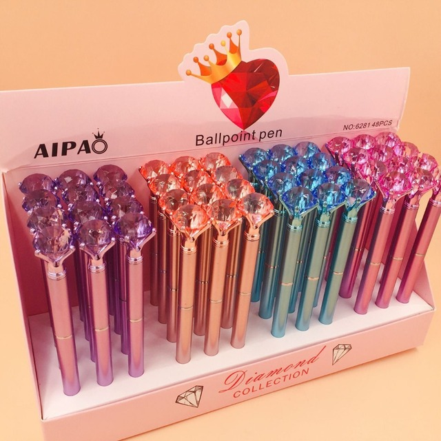48pcs/lot diamond crystal ballpoint pen creative stationery students office school pen promotion party gift high quality