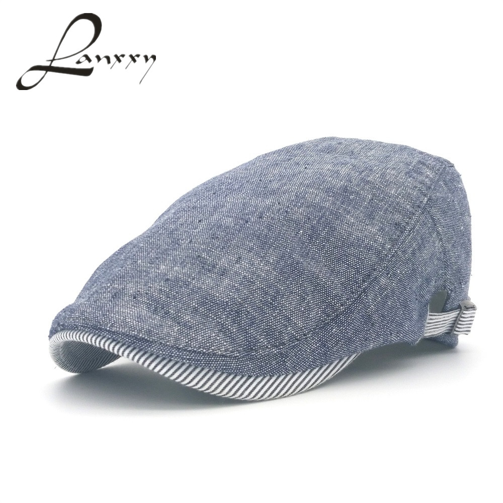 Lanxxy katun Gorras Planas laki-laki baret, Antik topi datar, Boinas baret, 2015 mode baru headwear, Topi pria mepet, Topi kasual