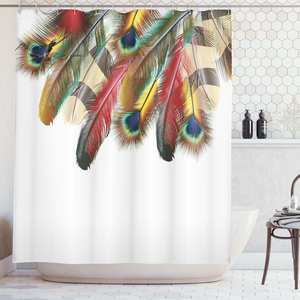Shower Curtain Decor-Set Fabric Peacock Bohemian-Theme Bathroom Colorful Link Vibrant