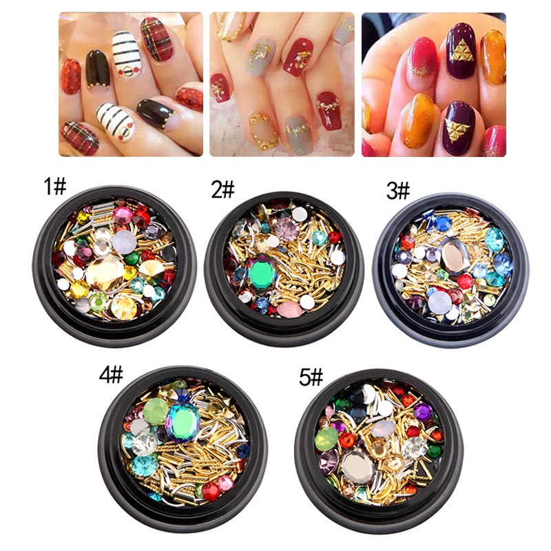 3D Nail Art Tips Crystals Metal Bar Decoration Mixed Size Glitter DIY Manicure Nails Tools For Girl Nail Art Tool FM88