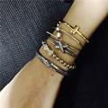 Fashion Women Crystal Rhinestone Plated Bangle Star Bow X Shape Gold Bangle Bracelet Jewelry Trendy