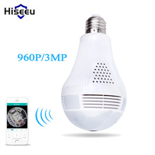 Hiseeu Bulb Light Wireless IP Camera Wi-fi FishEye 960P/3MP 360 degree VR CCTV Camera 1.3MP Home Security WiFi Camera Panoramic