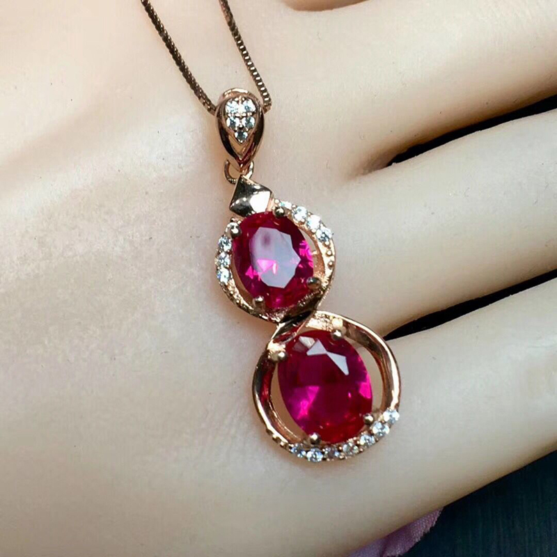 Wholesale Light Red Natural Crystal Pendant Gourd Inlay Pendant DIY 925 Silver Chain Necklace Beauty for Women Crystal JewelryWholesale Light Red Natural Crystal Pendant Gourd Inlay Pendant DIY 925 Silver Chain Necklace Beauty for Women Crystal Jewelry