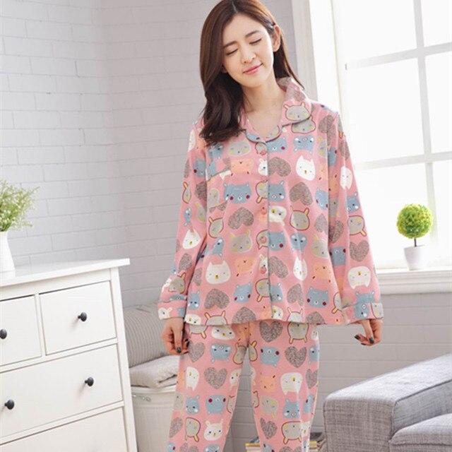 d79ba9f4c 2017 New Arrival cartoon Cardigan Cat Printing cute sleepwear Set Women  Turn Down Collar Pyjamas R199