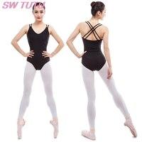 Free Shipping Adult Double Cami Ballet Leotards Ballet Clothes Women Gymnastic Leotard Black Girls Dance Wear