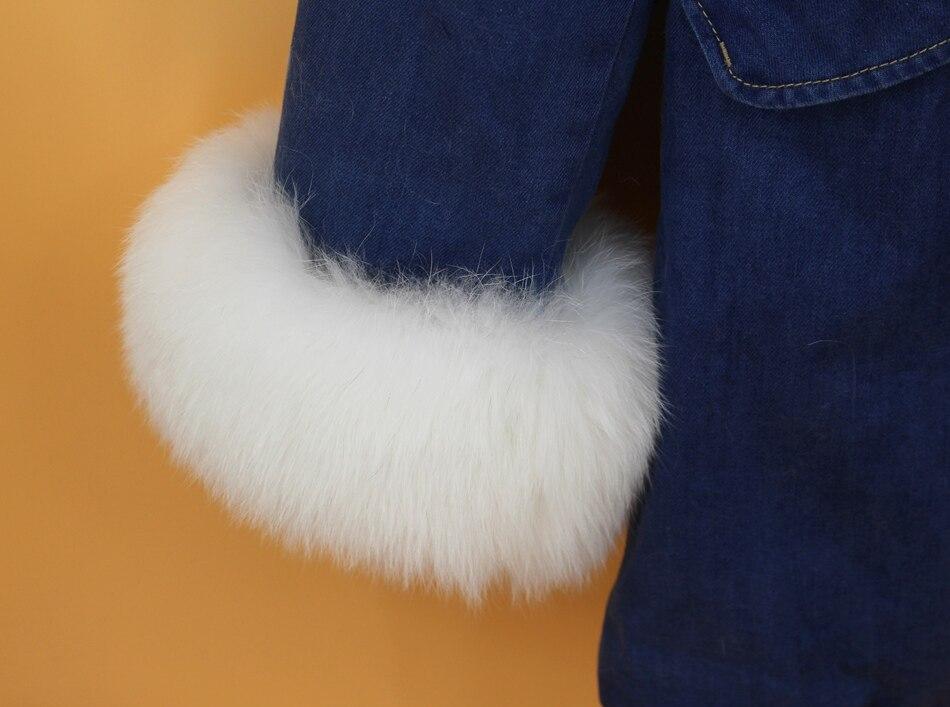women demin fur parka natural fox fur hoody  (6)