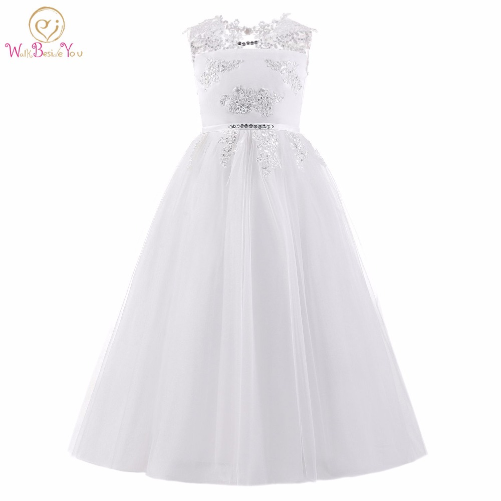 White /Ivory   Flower     Girl     Dresses   Sleeveless Ball Gown robe communion fille Keyhole Back Lace Applique Sequined with Bow Primera