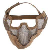 Gezicht Training Masker 2017 Merk Airsoft Paintball Staal Mesh Half Gezicht Bescherm Oefening Masker met Oor Cover Voor Mannen Outdoor