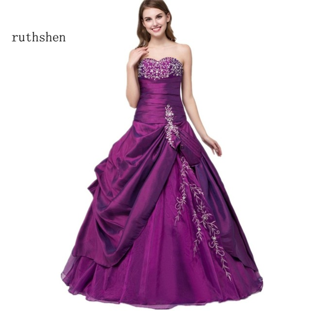 ruthshen Cheap Quinceanera Gowns Corset Lace Up Back Ruffles Embroidery Debutante Gowns Vestidos De 15 Anos Prom Dresses