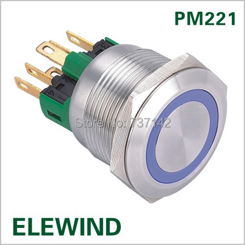 ELEWIND 22mm Stainless steel Ring illuminated  Momentary push button switch(PM221F-11E/B/12V/S) elewind 22mm ring illuminated piezo switch 22mm ps223p10yss1b24t rohs ce