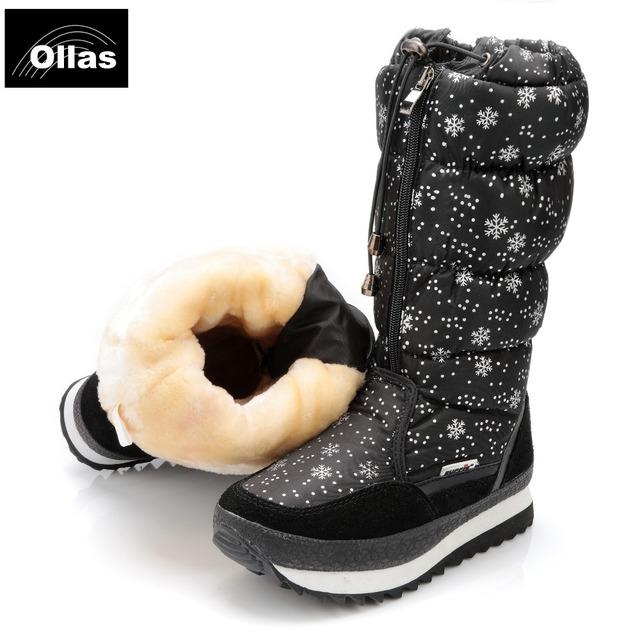 Ollas 2017 boots fashion women  winter lovely platform winter warm snow  boots  waterproof plus size 35-41 shoes woman YS0676-11