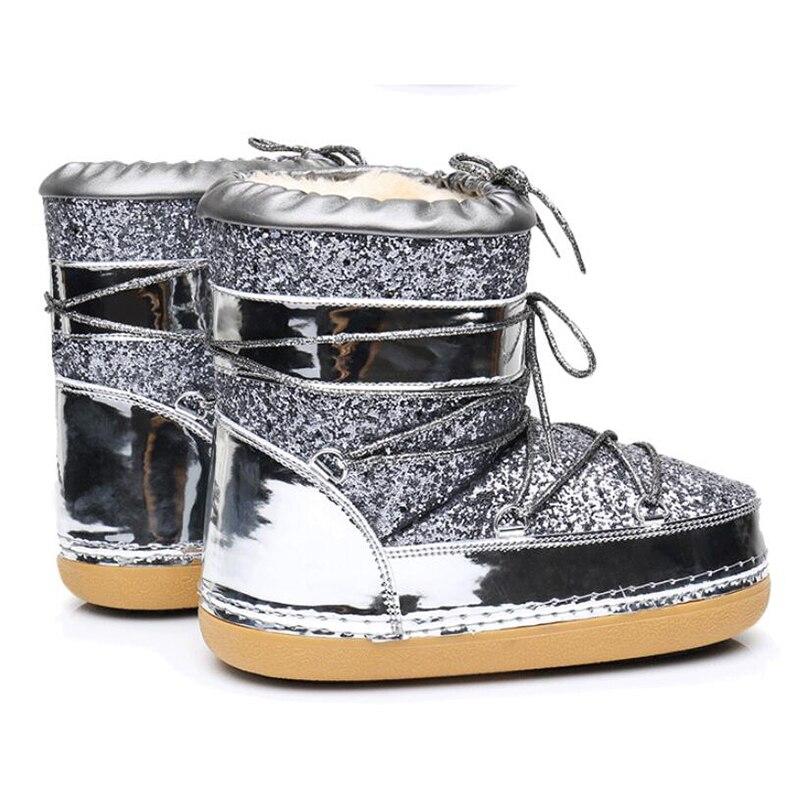 K1 Espace Nouvelle Mode Marque D'hiver 2 gold black Casual Étanche De Bottes Antidérapant Chaussures 1 Paillettes Neige À Sécurité Femmes Silver Flexible wk0nO8P