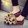 Corea del invierno de pelo de conejo de terciopelo suela plana mantener caliente zapatos nuevos zapatos de las mujeres ocasionales mujeres zapatos de algodón acolchado