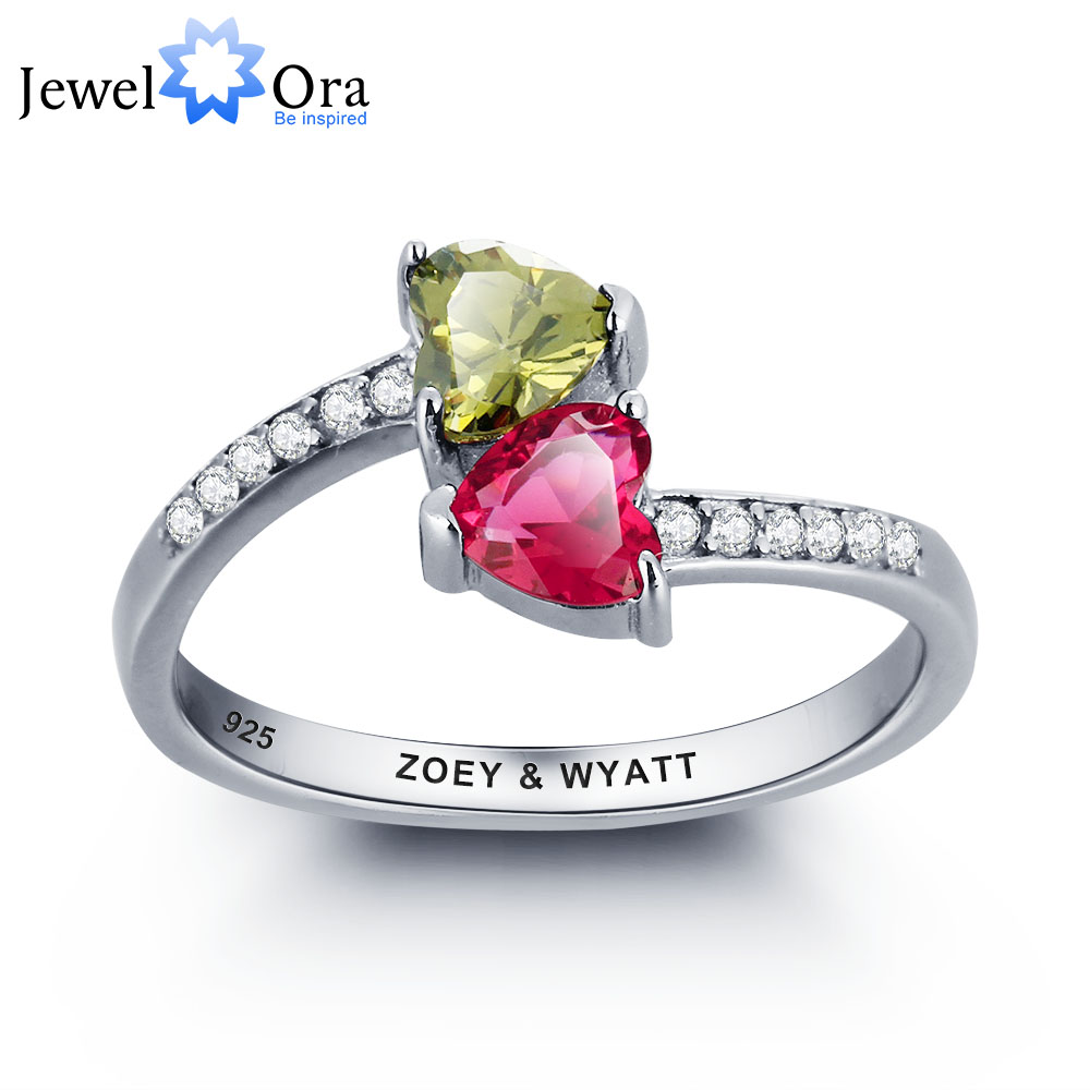 цена на Personalized Heart Birthstone Promise Ring 925 Sterling Silver Cubic Zirconia Ring Valentine's Day Gift (JewelOra RI101784)